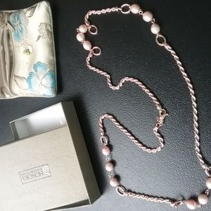 """36"""" 10.0mm Cultured Pearl Bronze Station Necklace"""